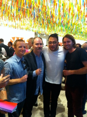 Bruce Phillips and James McCarthy form Te Tuhi, with Shannon Te Ao and friend.