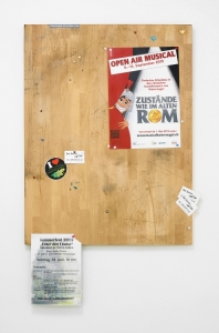 Fiona Connor, Community Notice Board (Kaiseraugst), 2015, custom oak pin board, paint, silkscreen and UV print on aluminium plates, vinyl, pins, staples, tape, 740 x 420 x 40mm