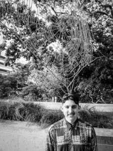 Jonathan Ward Knox with one of the sculptures from his work Hardly Held Light